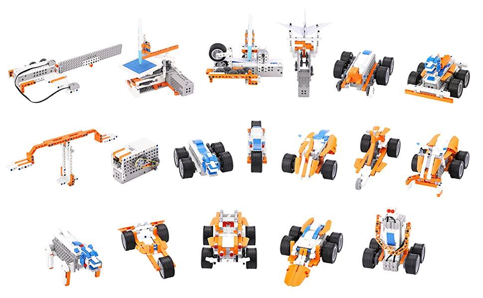 400 de cuburi de construcție pentru asamblarea până la 18 roboți